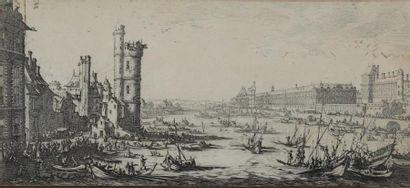 Jacques CALLOT (1592-1635). Vue du Louvre...