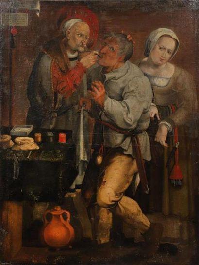 École FLAMANDE du XVIIe siècle. L'arracheur...