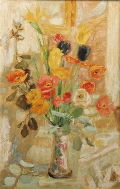 LE PHO (1907-2001). Bouquet de fleurs dans un vase, (les poppies). Huile sur soie...