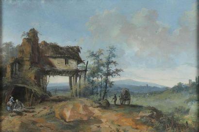 École FRANÇAISE du XVIIIe siècle. Paysage...