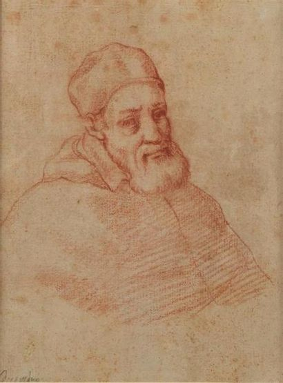 École ROMAINE vers 1600. Portrait de Pape,...