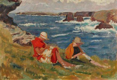 Jean PUY (1876-1960). Deux femmes cousant...