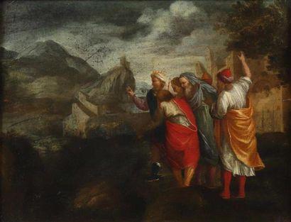 École FLAMANDE du XVIIe siècle. Scène vétero-testamentaire....