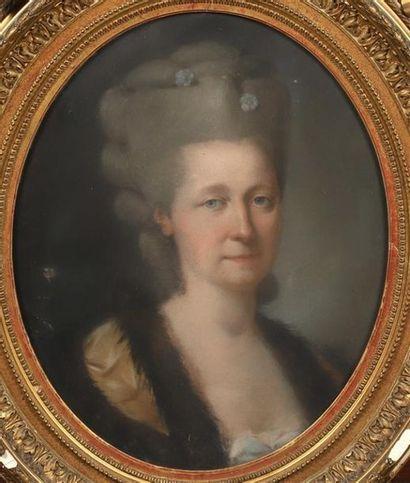 Ecole FRANCAISE vers 1780. Portrait de dame....