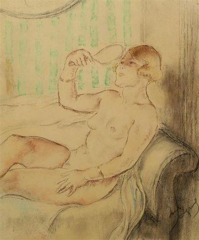Louis LEGRAND (1836-1951). Nu assis au miroir....