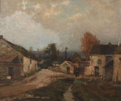 Jean MASSE (1856-1950). Rue de village animée....