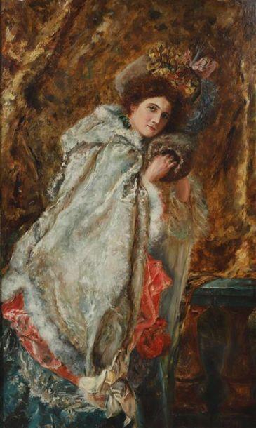 Henri GERVEX (1852-1929). Elégante au manchon....