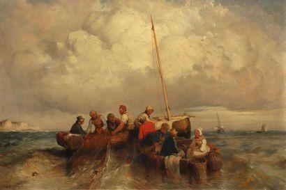 A. CASATI. Le retour de la pêche 1836 Toile...