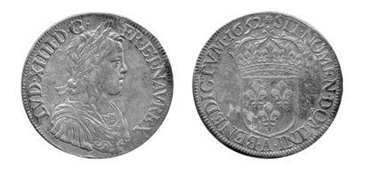 LOUIS XIV (1643-1715). Ecu à la mèche longue....