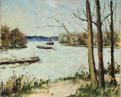 Jaques BOUYSSOU (1926-1997). Payasage d'Ile-de-France. Huile sur toile, signée en...