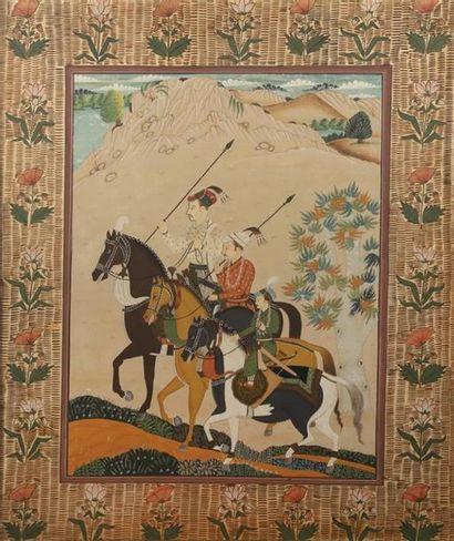 Ecole du XIXème siècle. Cavaliers à la chasse....