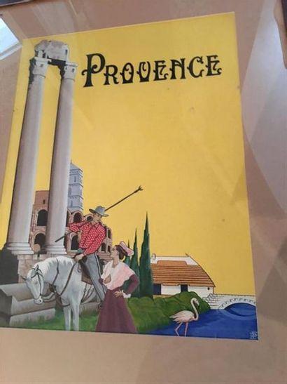 Dessin Provence signé et monogramé en bas...