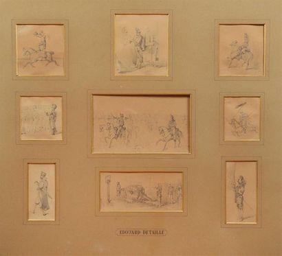 Edouard DETAILLE (1848-1912). Etudes de chevaux...