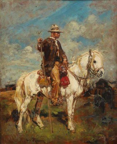 Henri ROUSSEAU (1875-1933). Gardian sur son...