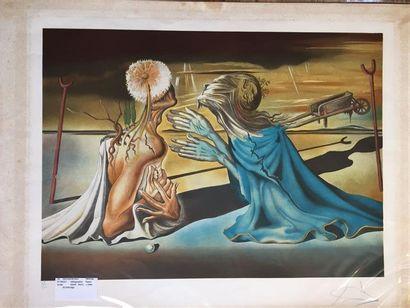 Salvador DALI (1904-1989), d'après. Tristan et Yseult. Lithographie en couleur sur...