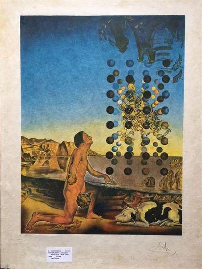 Salvador DALI (1904-1989), d'après. Dali en contemplation. Lithographie en couleur...