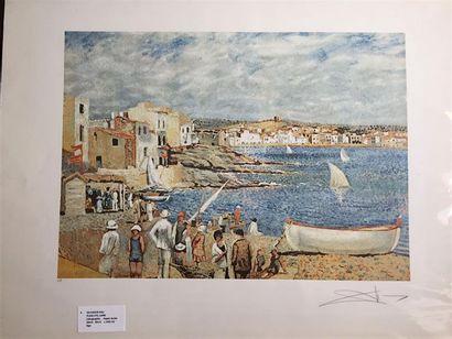 Salvador DALI (1904-1989), d'après. Plage d'el Liane. Lithographie en couleur sur...