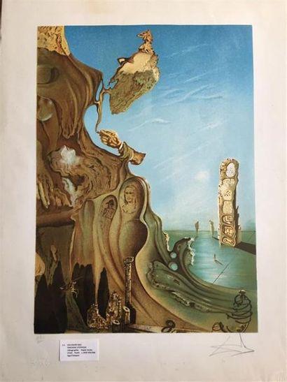 Salvador DALI (1904-1989), d'après. Fantaisie utopique. Lithographie en couleur...