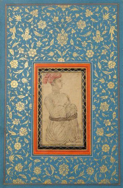 PÂGE D'ALBUM, IRAN QÂJÂR, XIXe siècle. Derviche...