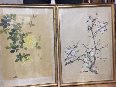 CHINE - XXe siècle : Branches fleuries et...
