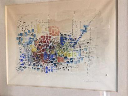 Pierre HUMBERT. Composition bleu, vert, jaune. Aquarelle sur papier signé et daté...