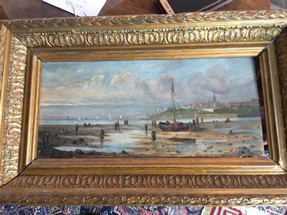 Ecole du XIXe siècle. Marine. Huile sur panneau...