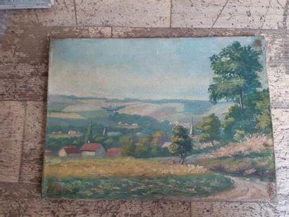 P. BONNARD. Paysage. Toile signée en bas à gauche. D. : 24 x 33 cm.