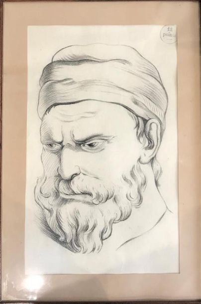 Ecole MODERNE. Portrait de vieillard (12...