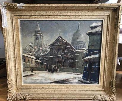 C. DALI. Montmartre sous la neige. Huile...