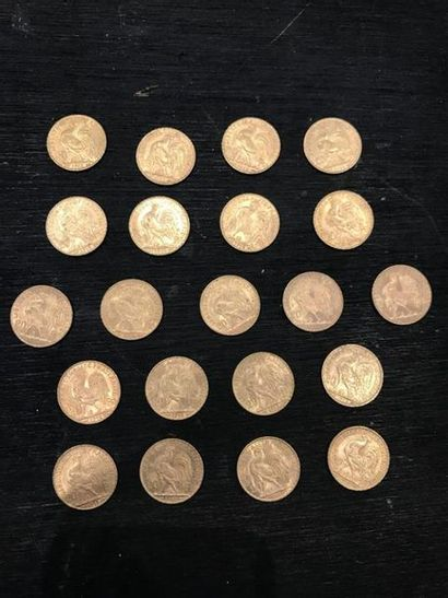 FRANCE : -1 x 20 francs or 900 millièmes,...