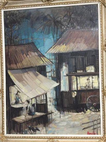 Ecole INDOCHINOISE du XXe siècle. Village....