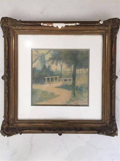 1 aquarelle portant une signature E. CLA...
