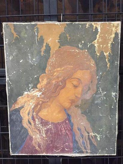 Ecole dans le goût de BOTICELLI, XIXe siècle. Buste de femme. Huile sur toile. (En...