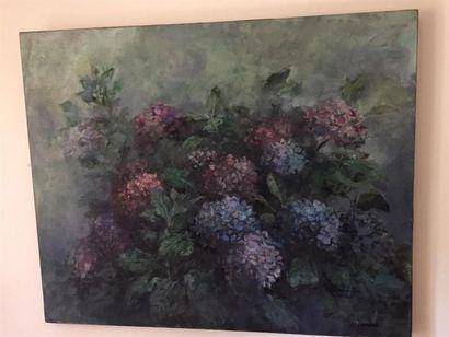 Jacques OUSSON (né en 1937). Bouquet d'hortensias....