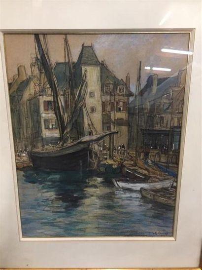 ECOLE MODERNE. Vue d'un port en Bretagne....