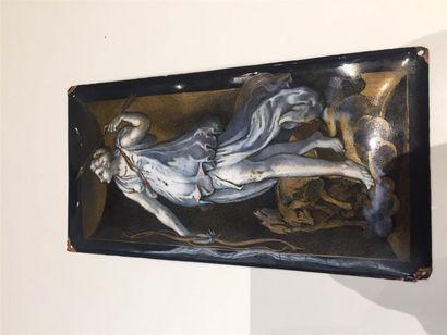 Plaque en émaux de Limoges à décor en grisaille...