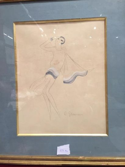 Charles GESMAR (1900-1928) Elégante dans le vent (Mistinguett ?) Crayon noir et...