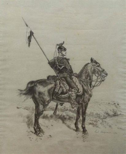 Paul CHARPENTIER. Lancier à cheval. Fusain...