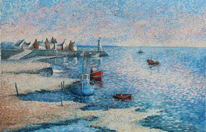 Jean Lambert D'HOMDT. Vieux port en Bretagne. Huile sur toile, signée en bas à gauche,...