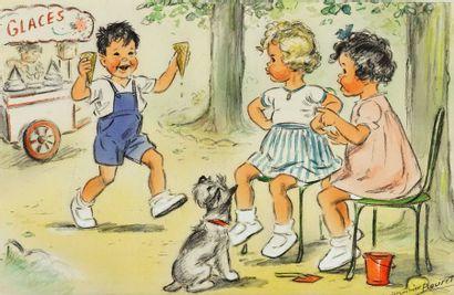 GERMAINE BOURET Le petit marchand de glaces Fusain et gouache sur papier, monté sur...