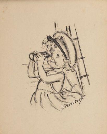 GERMAINE BOURET J'aperçois les Flots Bleus, c.1950 Fusain sur papier, monté sur carton...