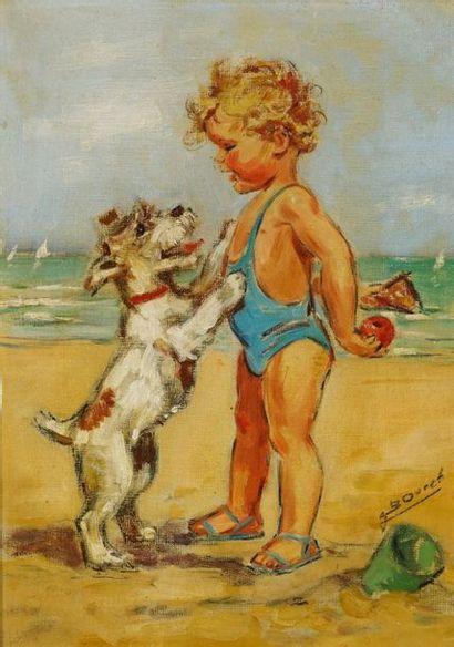 GERMAINE BOURET Jeux de plage. c. 1930.Rare huile sur toile illustrant un des thèmes...