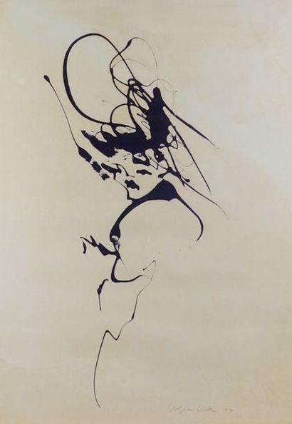 Wolfram WALLNER (XXème). Portrait de femme, 1979. Encre. Signée en bas à droite et...