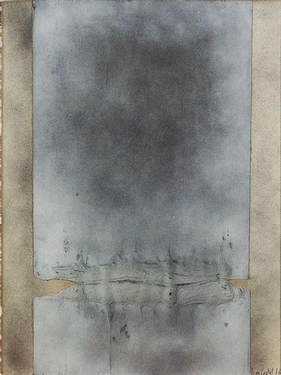 Jean CORTOT (1925-2018). Fusions, 1976. Peinture, collage et matière sur papier....
