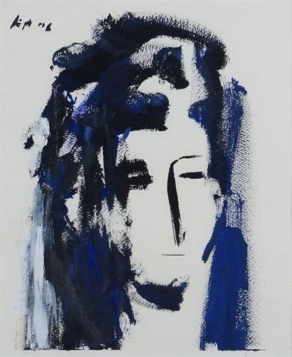 Alejandro AVAKIAN (né en 1959). Portrait en bleu. Gouache sur papier. Signée en haut...