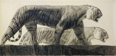 Paul JOUVE (1878-1973). Deux tigres marchant, circa 1925. Fusain sur papier. Signé...