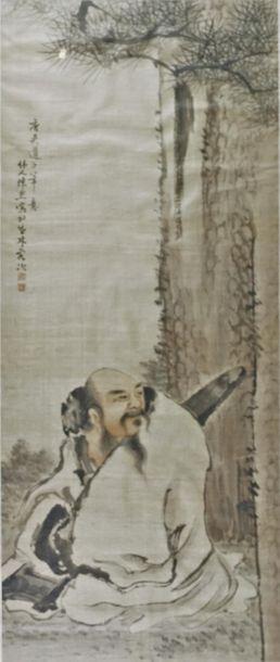 Peinture à l'encre et polychromie sur soie,...