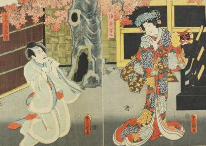 Lot de cinq estampes : Utagawa Kunisada,...