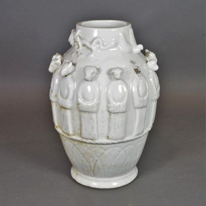 Urne funéraire en porcelaine émaillée blanc,...