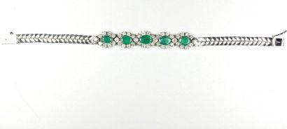 Bracelet en or gris 18K (750/oo) à double...